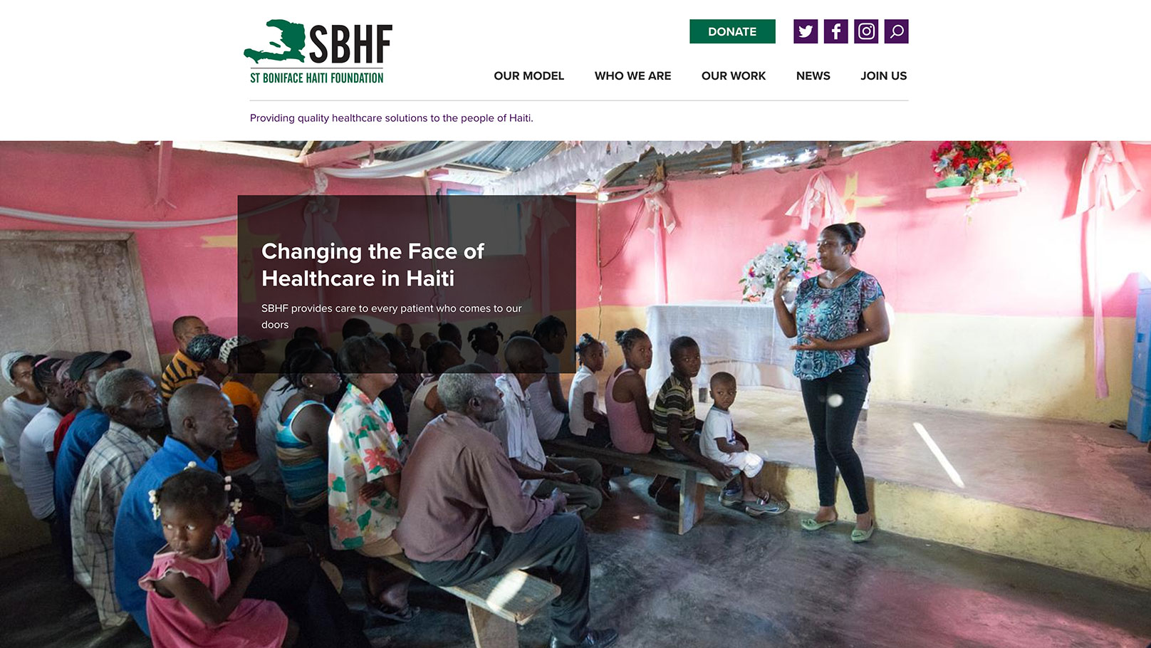 Saint Boniface Haiti Foundation homepage screen shot