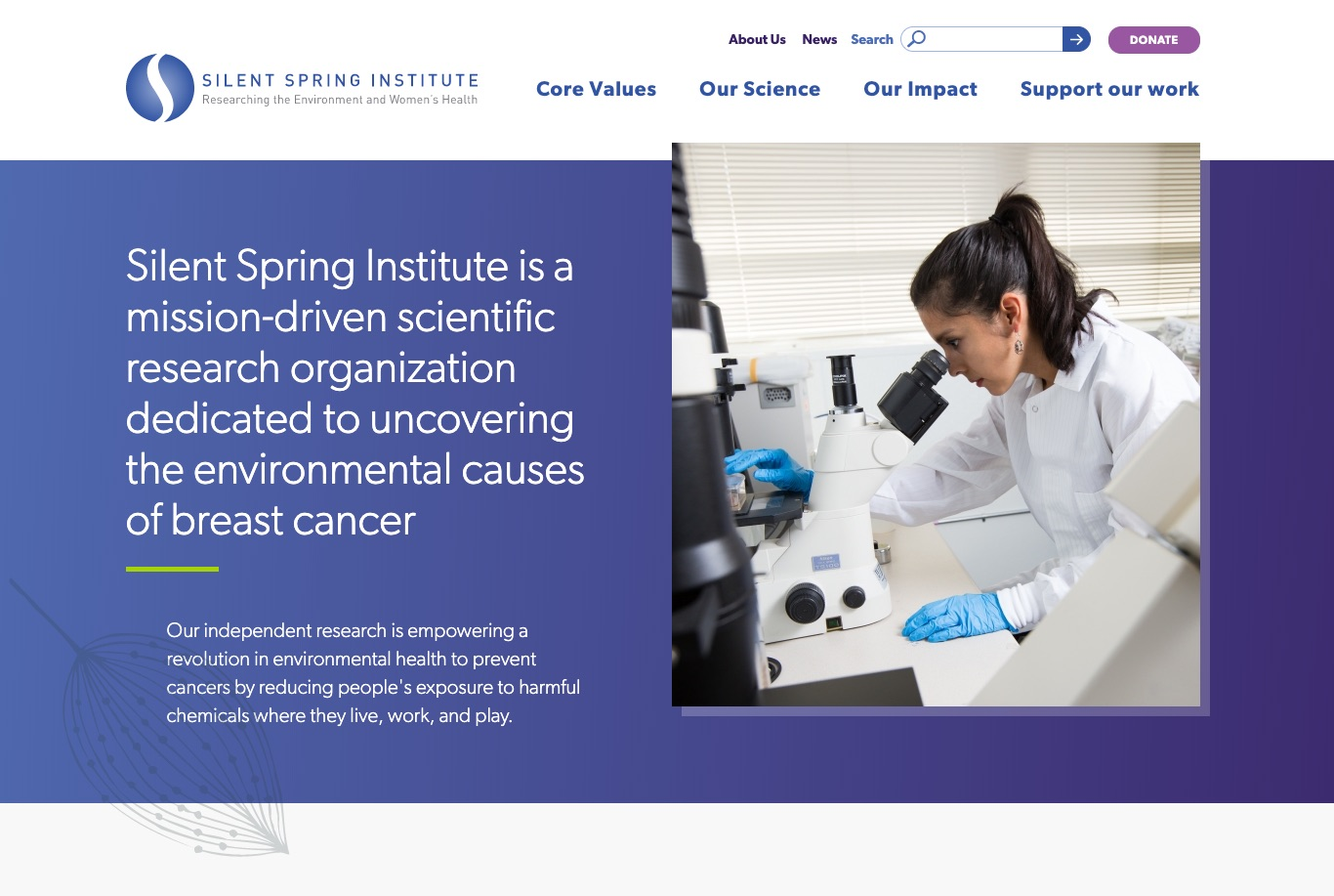 "Silent Spring homepage, photo of woman in lab coat looking into a microscope, text reads ""Silent Spring Institute is a mission-driven scientific research organization dedicated to uncovering the environmental causes of breast cancer"""