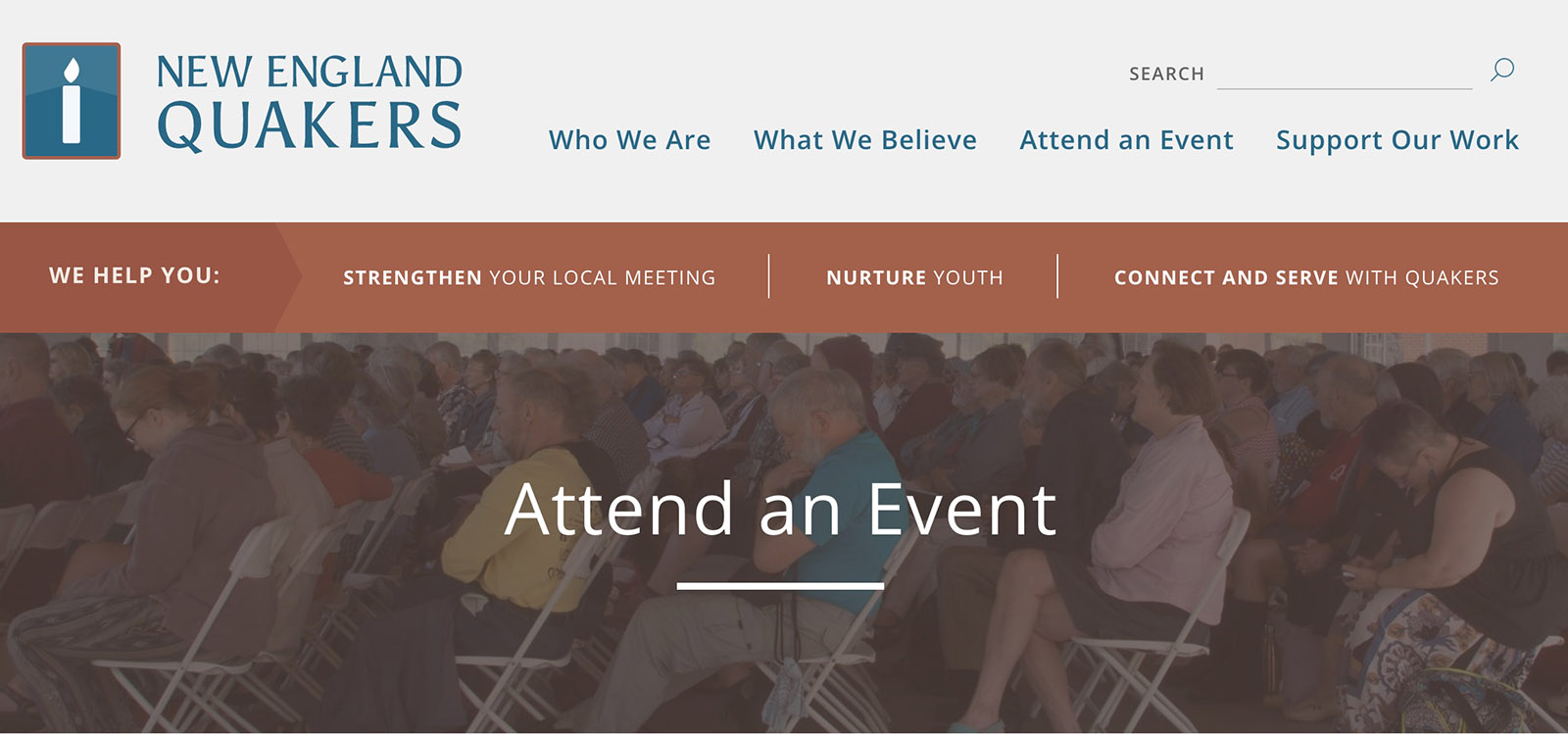 Attend an event page, with photo background of Quakers sitting in a meeting for worship
