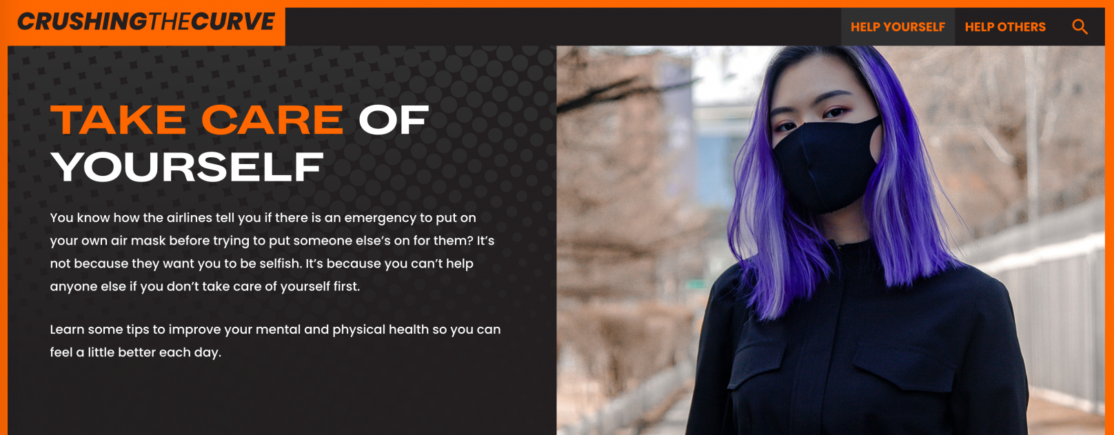 "Text says ""Take care of yourself"" next to image of person of Asian descent with purple hair and a black face mask"