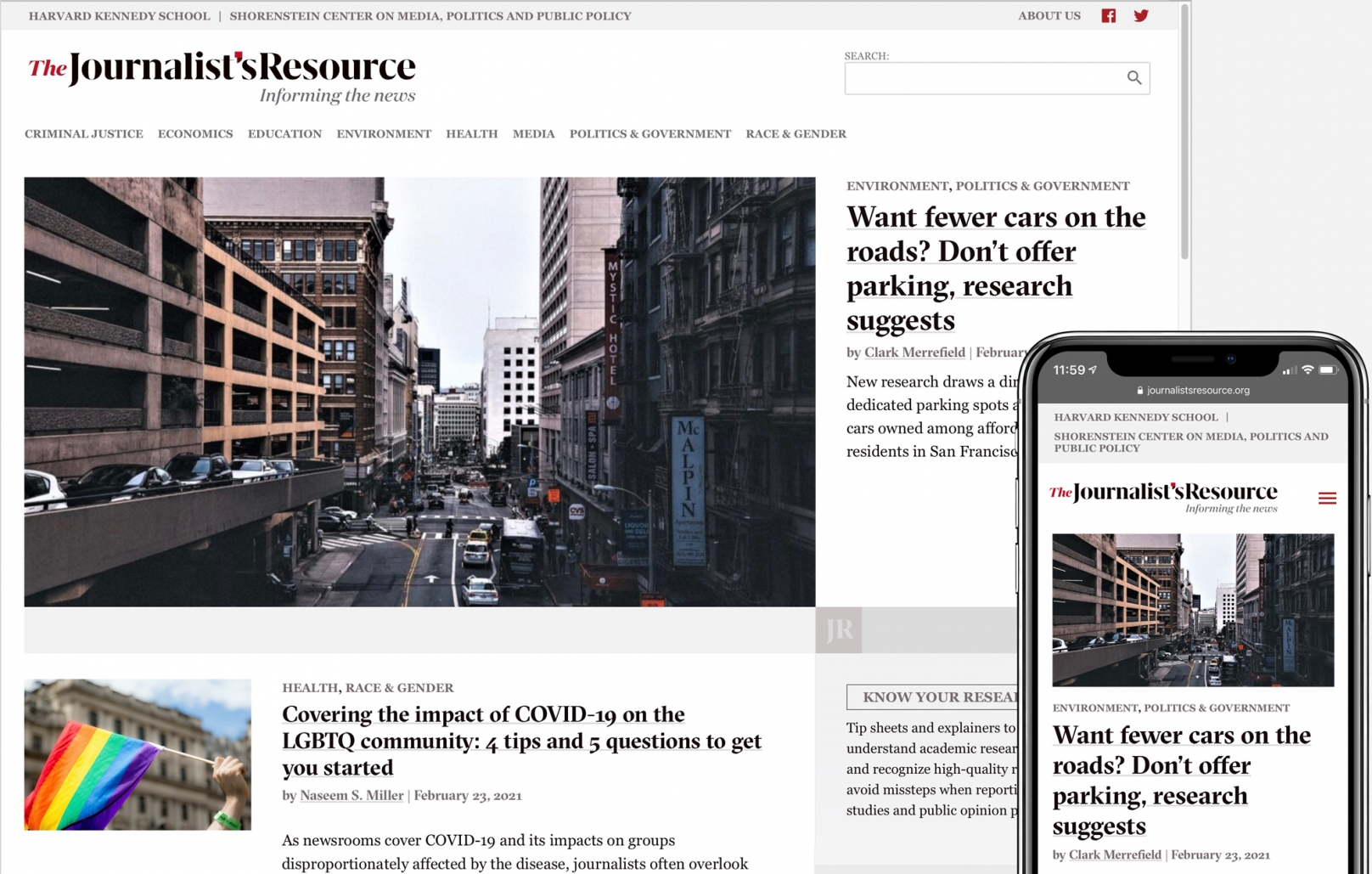 The Journalist's Resource homepage on desktop and phone