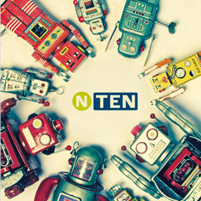 NTEN circurlar logo with antique toy robots around it