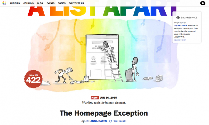 A List Apart homepage, illustration of people fixing an analog computer, with rainbow overlay for Pride
